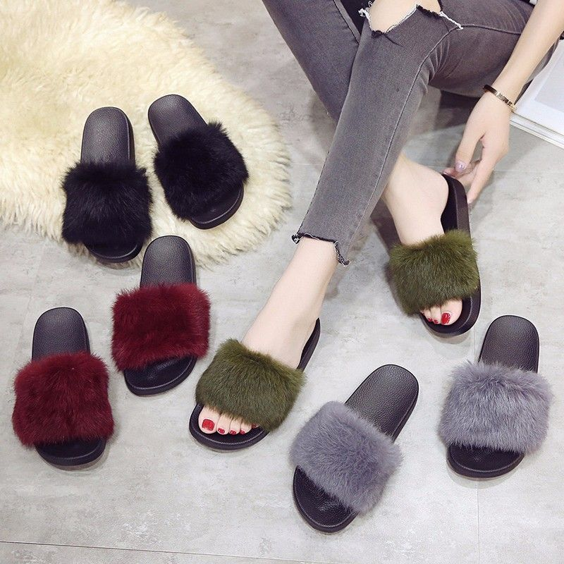 Woollen Slipper Lady Autumn New Woolly  Shoes