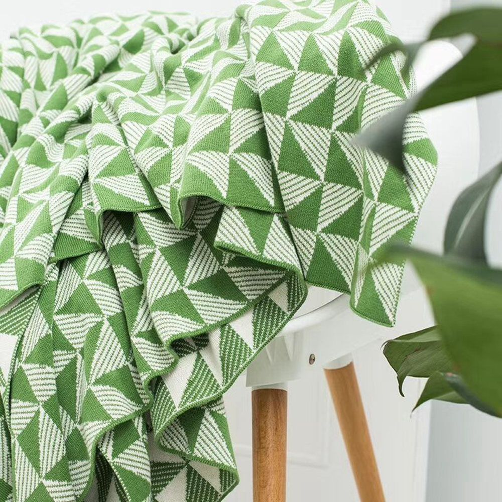 Pure Knitted Geometric Leisure Cotton Air Conditioning Cover Blanket