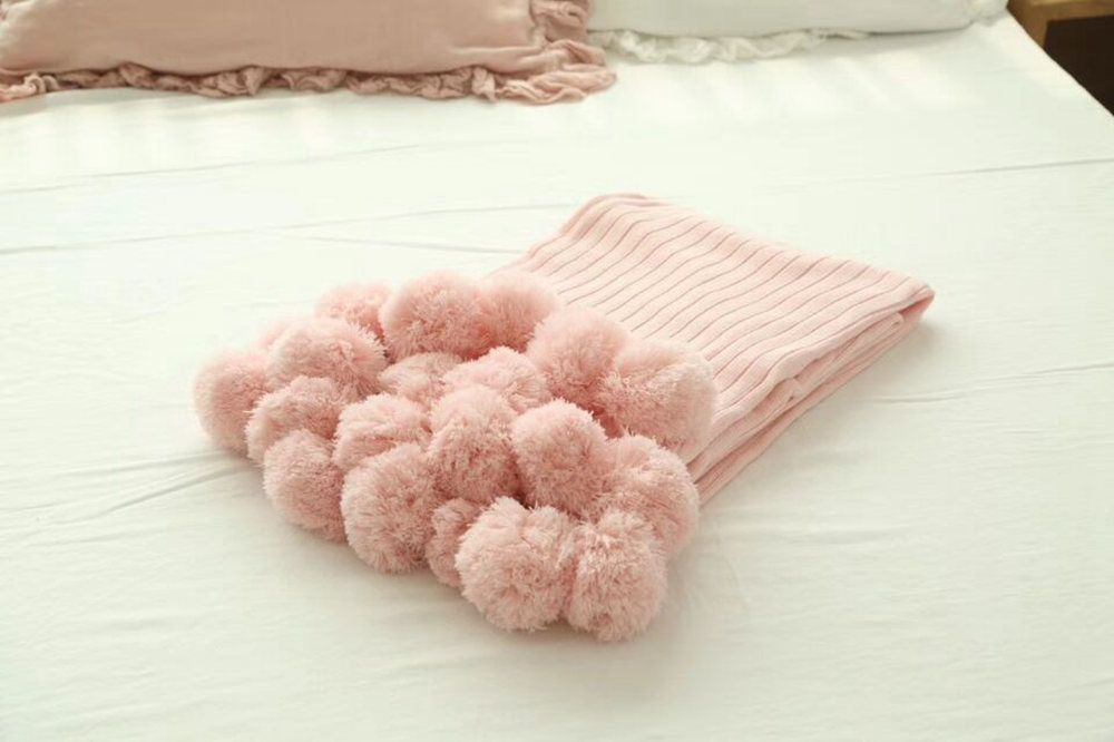 Pure Cotton Fancy Ball Decorative Knitted Blanket