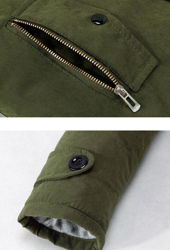 Men's Fleece Long Parka Coat Cotton Pure Long Sleeve Coat