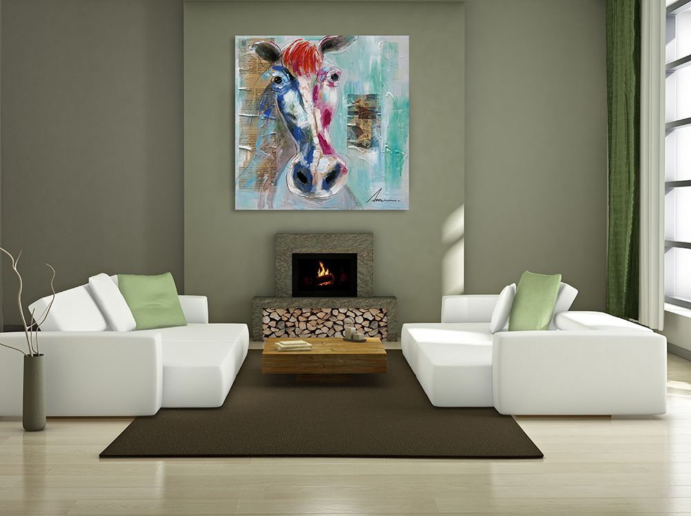 XiangYunChengFeng Modern Square Oil Painting Fine Horse Hanging Wall Art