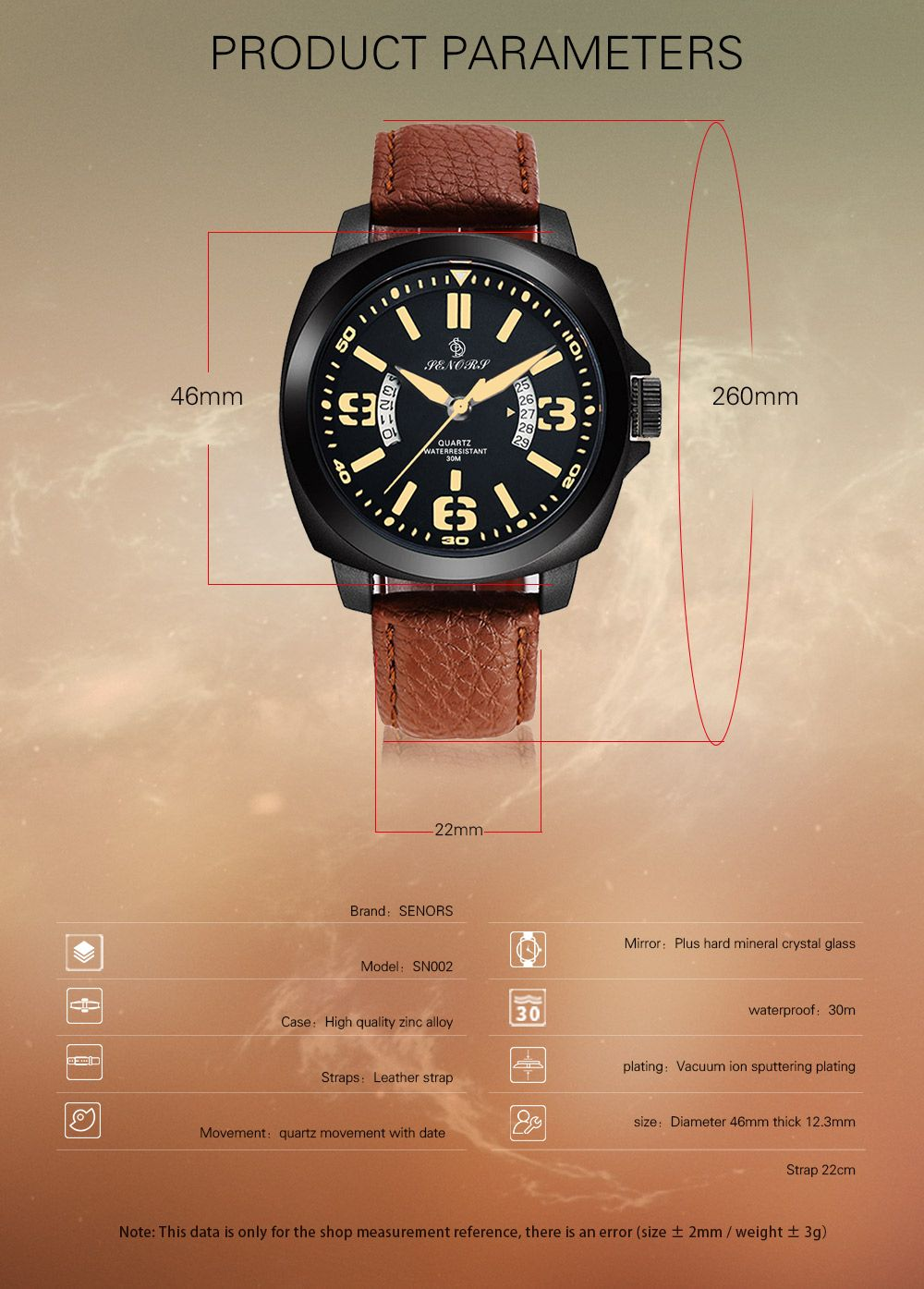 Senors SN002 Fashion Business Date Quartz Watch with Leather Strap