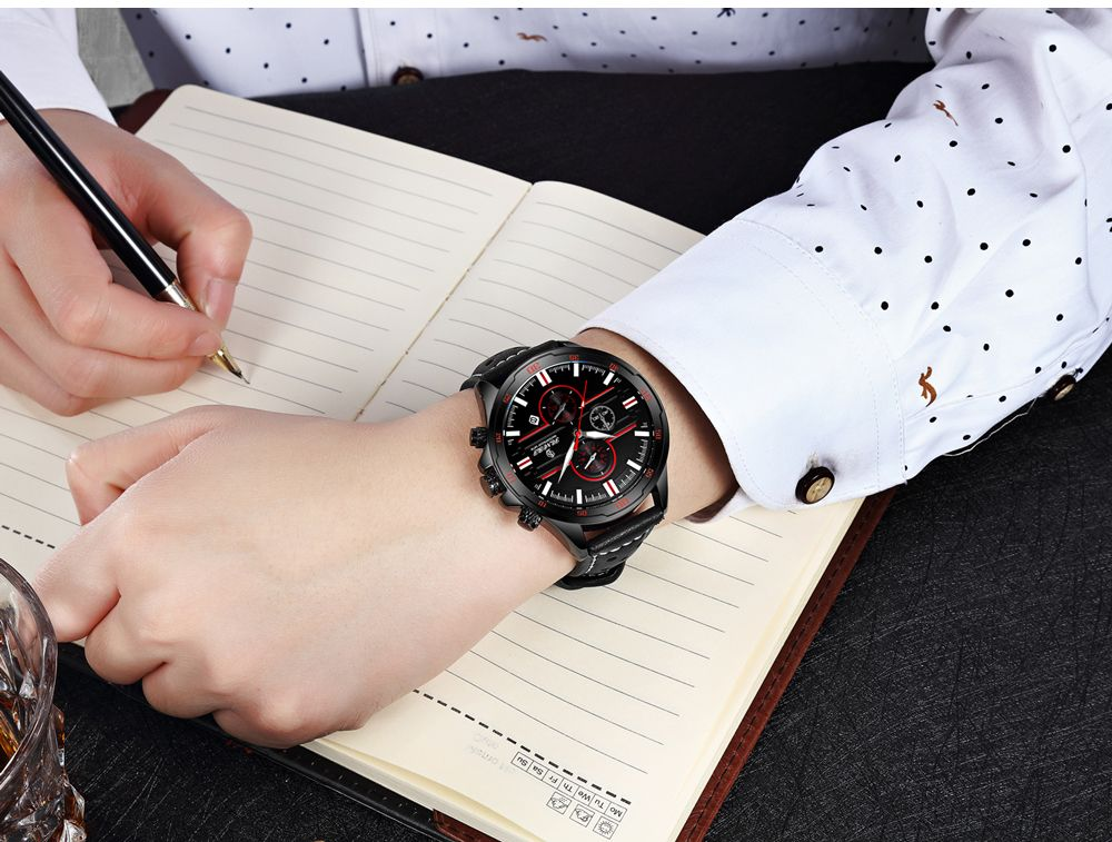 Senors SN007 Fashion Business Date Quartz Watch with Leather Strap