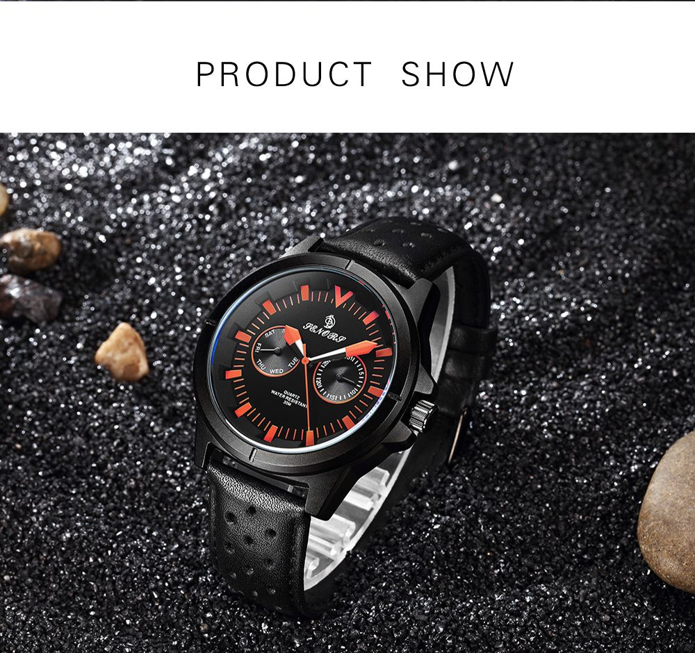 Senors SN009 Fashion Business Date Quartz Watch with Leather Strap