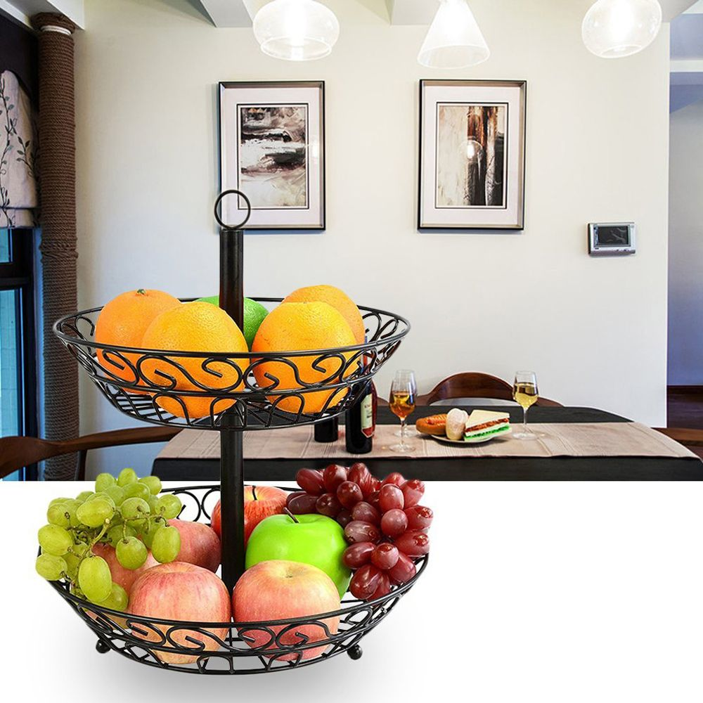2 Tier Countertop Fruit Basket Holder Decorative Bowl Stand Fruits Vegetables Snacks Household Item