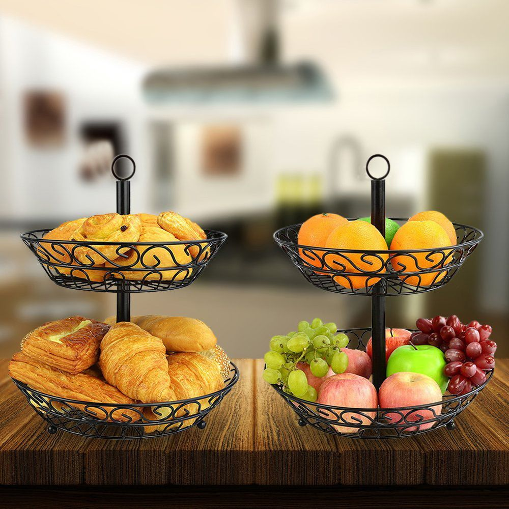 2 Tier Countertop Fruit Basket Holder Decorative Bowl Stand Fruits Vegetables Snacks Household Item