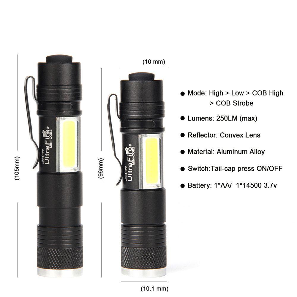 UltraFire MINI - COB2 250 Lumens XPE 4-Stop Telescopic Flashlight