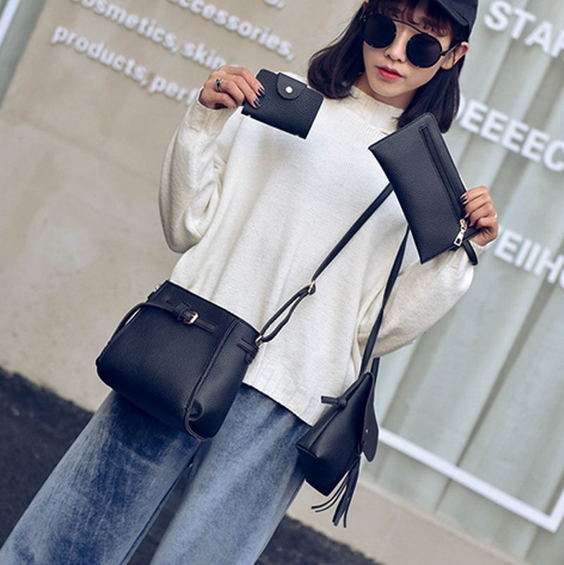 Women's Shoulder  Stylish Solid Color Bucket Cross-body Bag