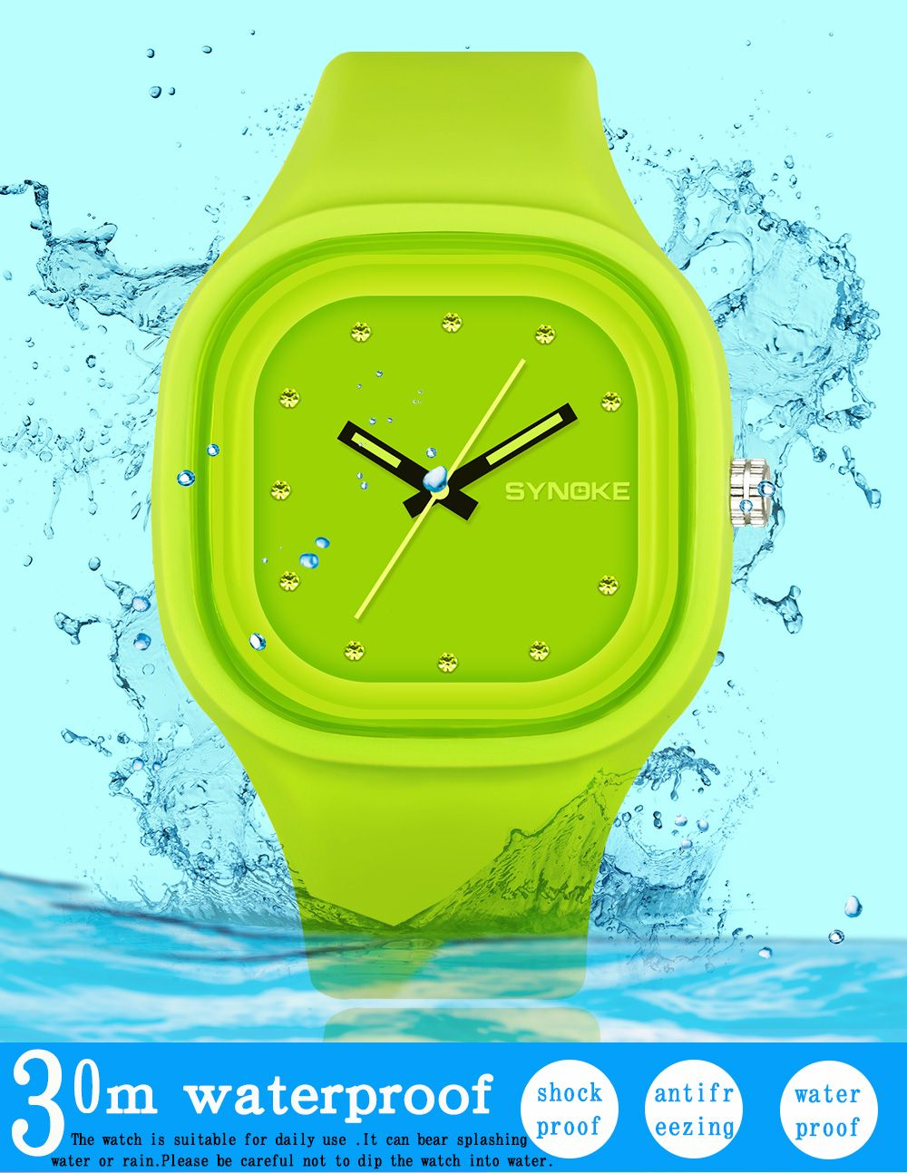 SYNOKE 66895 Sports Waterproof Trend Jelly Couple Watch