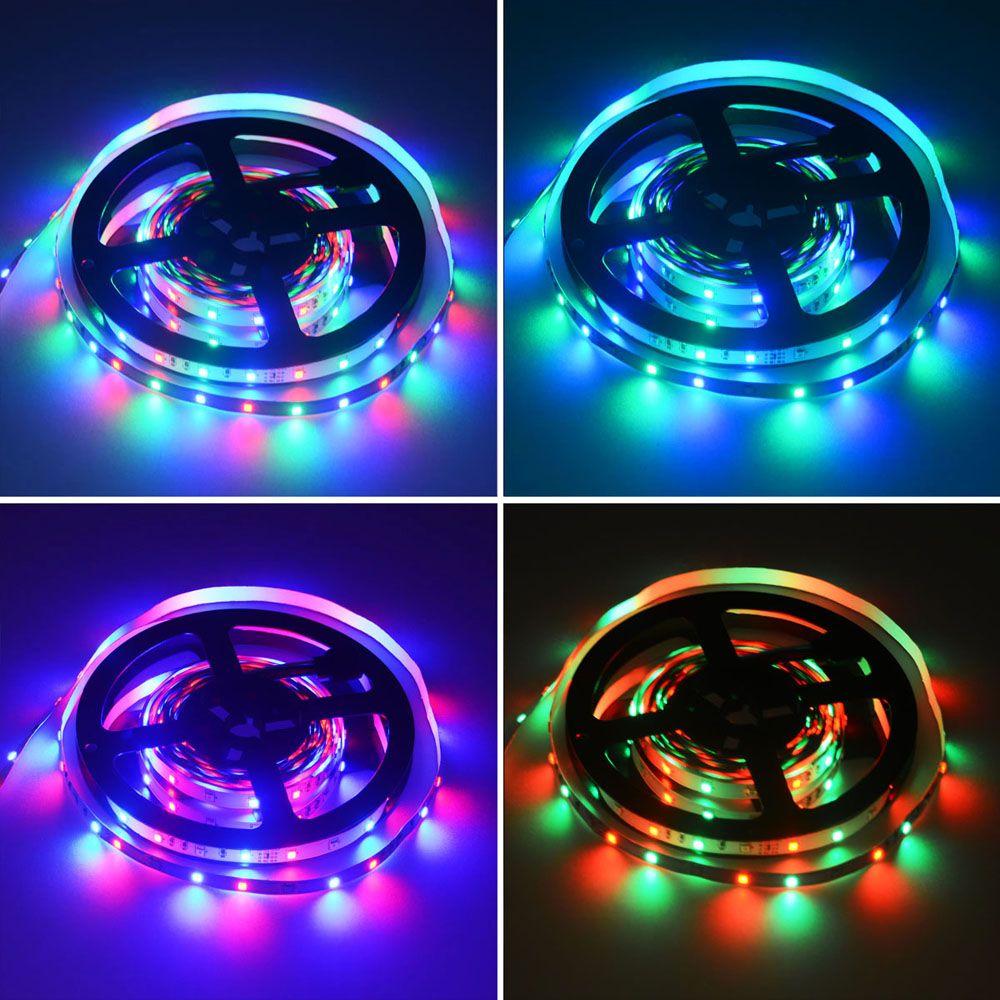 HML 2pcs 5M 24W RGB 2835 SMD 300 LED Strip Light with RF10Keys Remote Control+ DC Adapter(EU Plug)