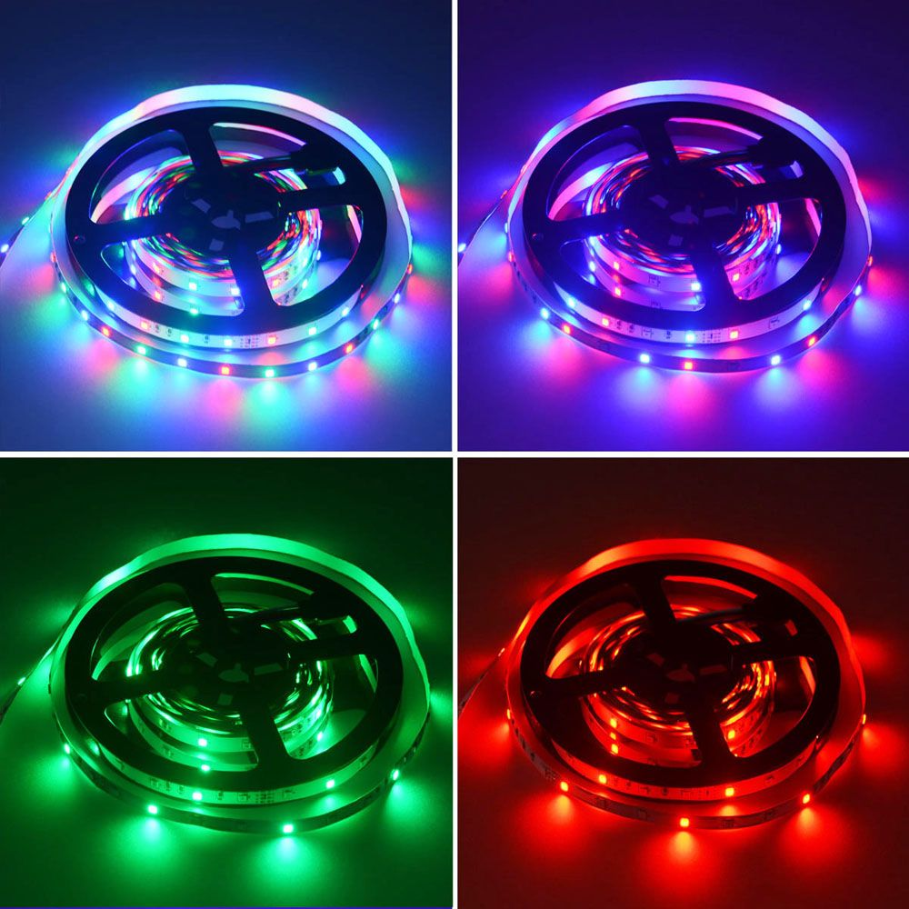 HML 2pcs 5M 24W RGB 2835 300 LED Strip Light  - RGB COLOR with IR 20 Keys Music Remote Control and US Adapter