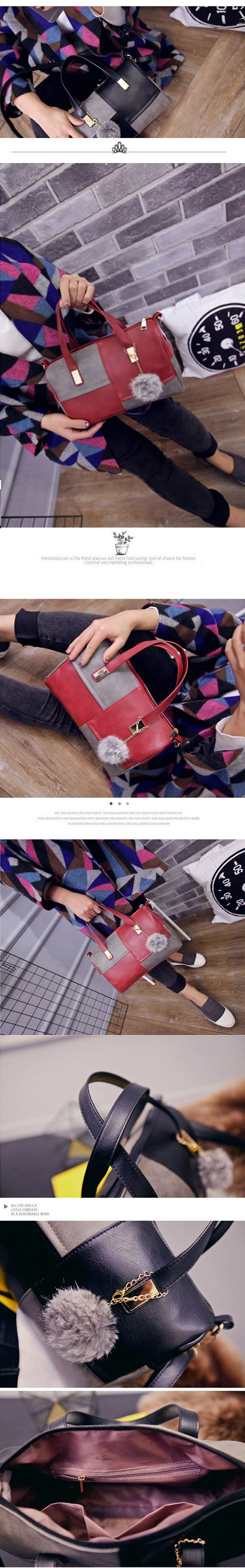 Women's Handbag Elegant Color Patchwork Pompon Pendant Cylinder Bag