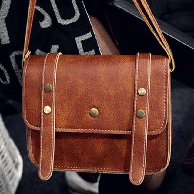 Women's Crossbody Vintage Faux Leather Studded Bag
