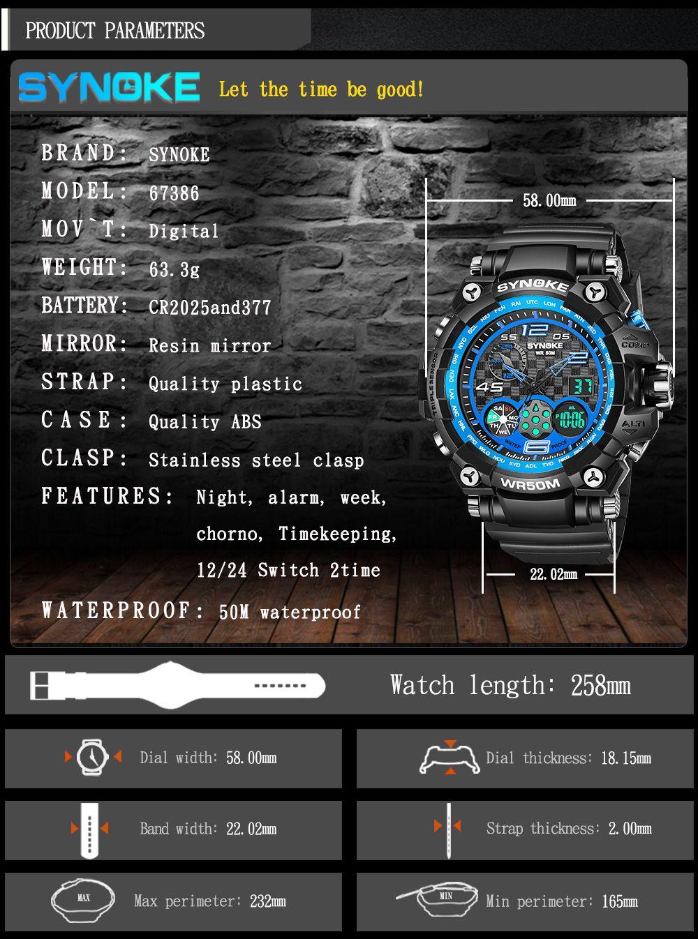 SYNOKE 67386 Trendy Sports Multifunctional Man Watch