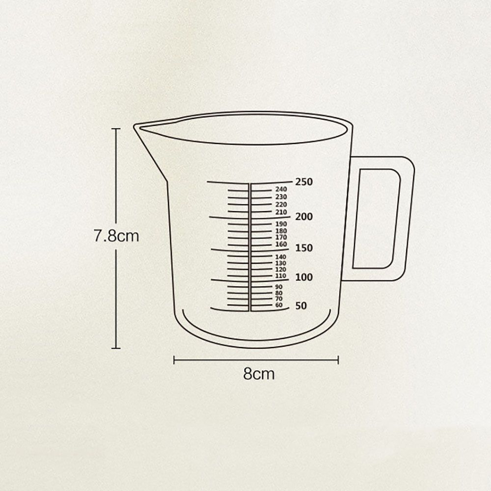 DIHE 250ml Scale Transparent Measuring Cup Easy to Use