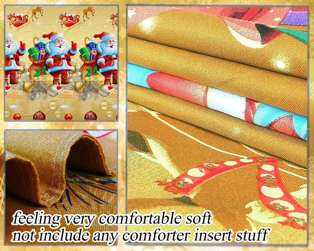 3D Merry Christmas Gift Santa Claus Deep Pocket Bedclothes Cover Bed Sheet Pillowcases