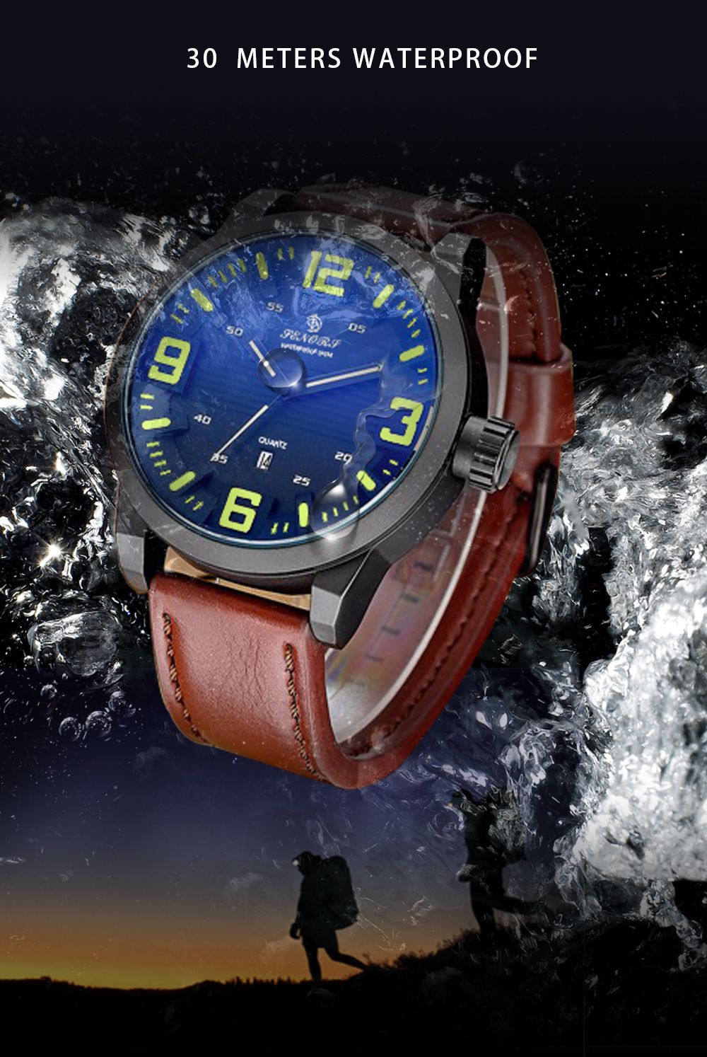 Senors SN014 Fashion Business Date Quartz Watch with Leather Strap