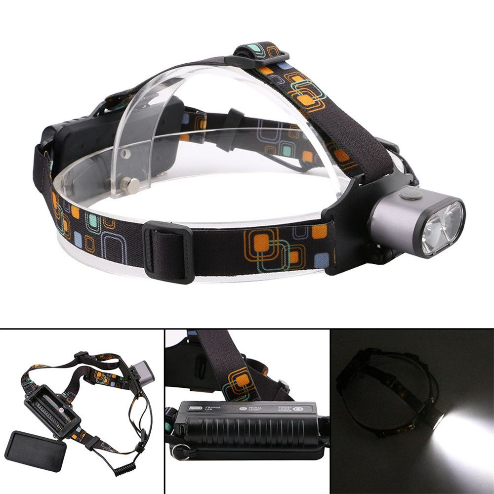 HKV 2LEDs XMLT6 6000 - 6500K USB Rechargeable Outdoor Waterproof Headlight for Camping