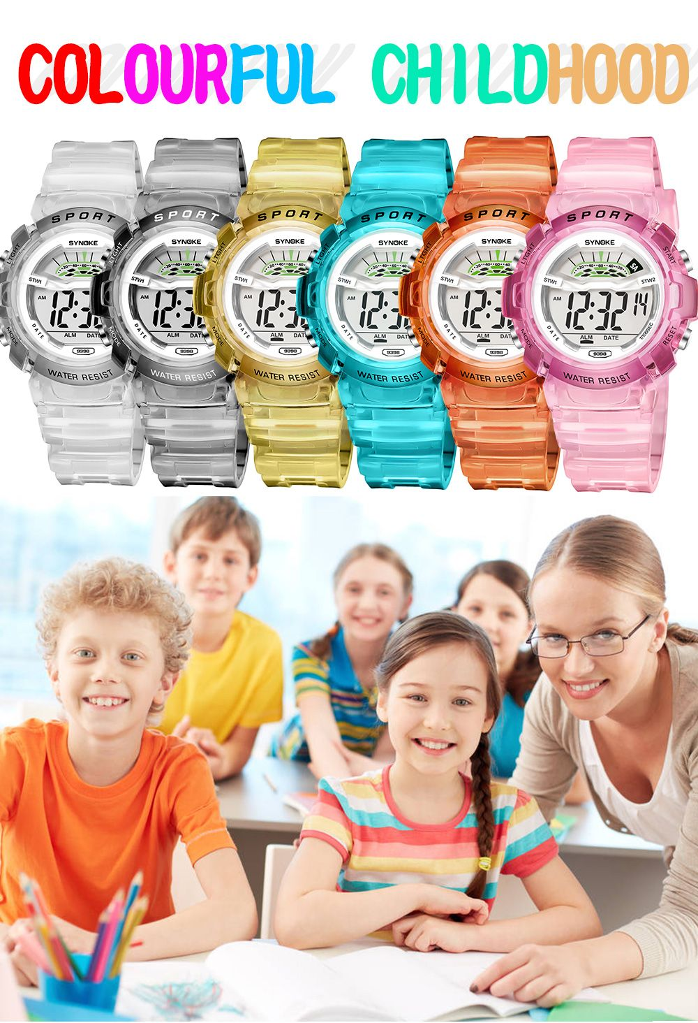 SYNOKE 9388 Waterproof Luminous Multi - Function Child Movement Electronic Watch