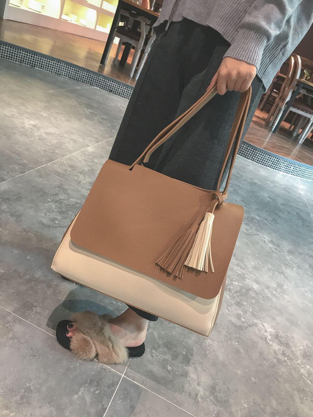 New Simple Women Contrast Color Shoulder Bags Fringed Bag