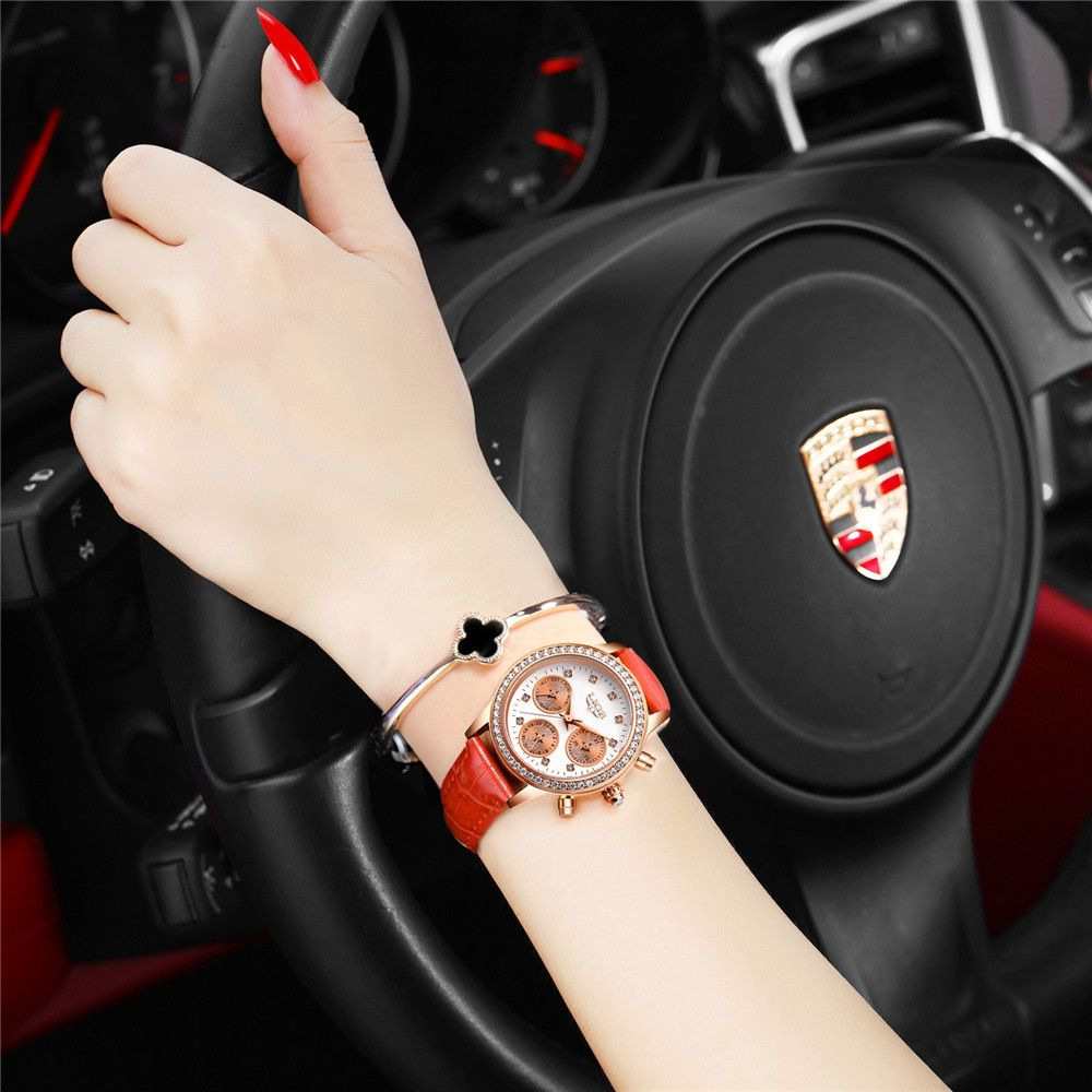 LIGE 9805 4861 Fashionable Casual Leather Band Women Quartz Watch