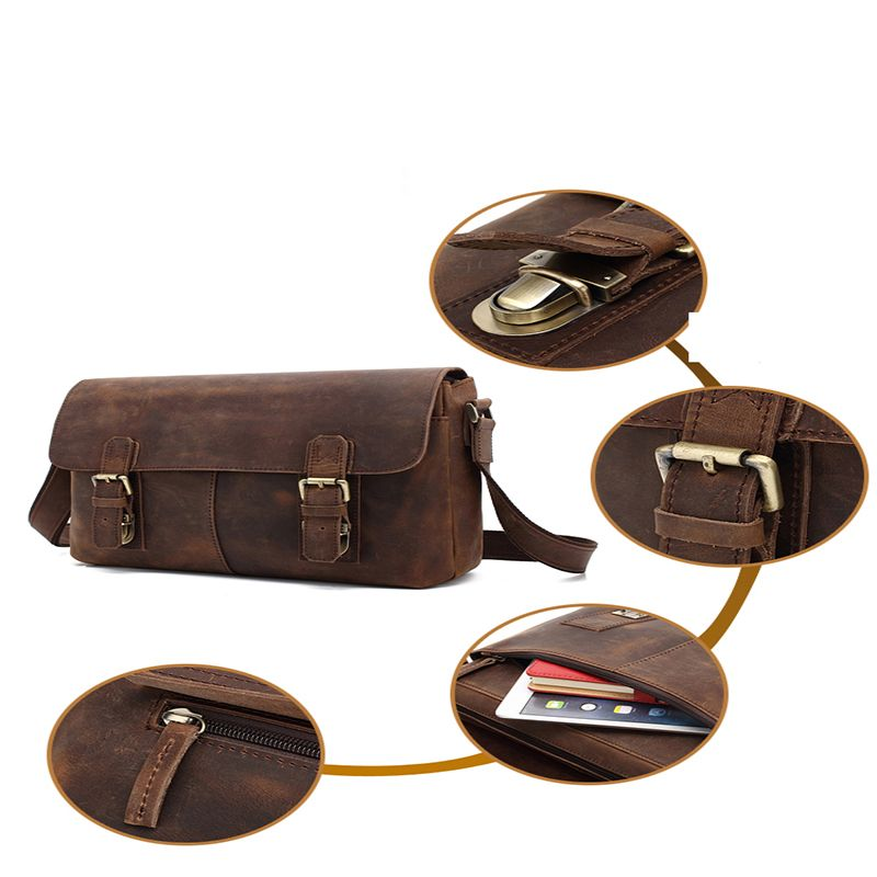 AUGUR  Men Genuine Leather Shoulder Bag  Messenger Business Briefcase