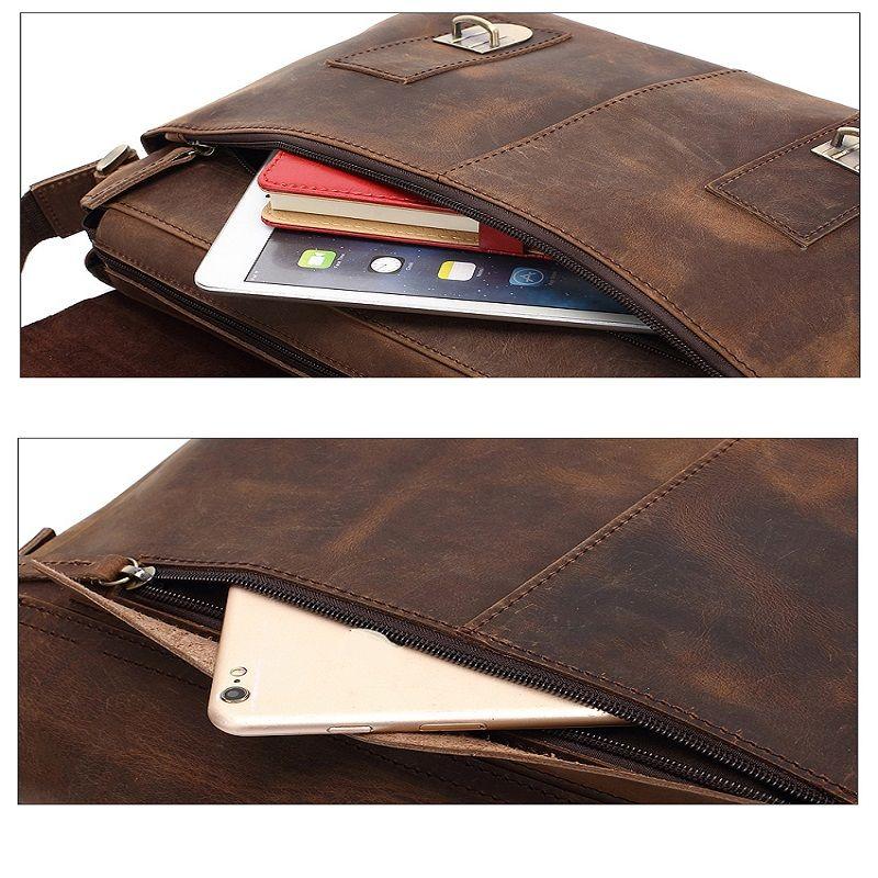 AUGUR  Men Genuine Leather Shoulder Bag  Messenger Business Briefcase