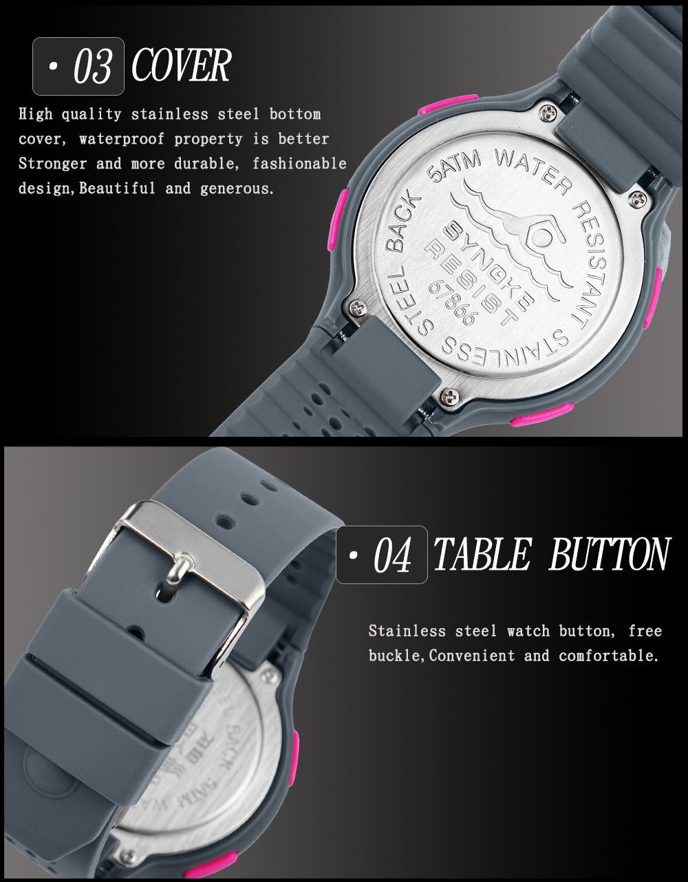 SYNOKE 67866 Slim Trendy Waterproof Unisex Electronic Watch