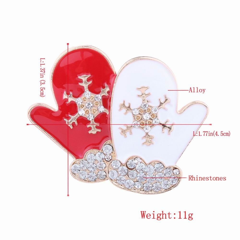 Fashion Design Red and White Gloves Snowflakes Brooch with Diamond Christmas Jewelry