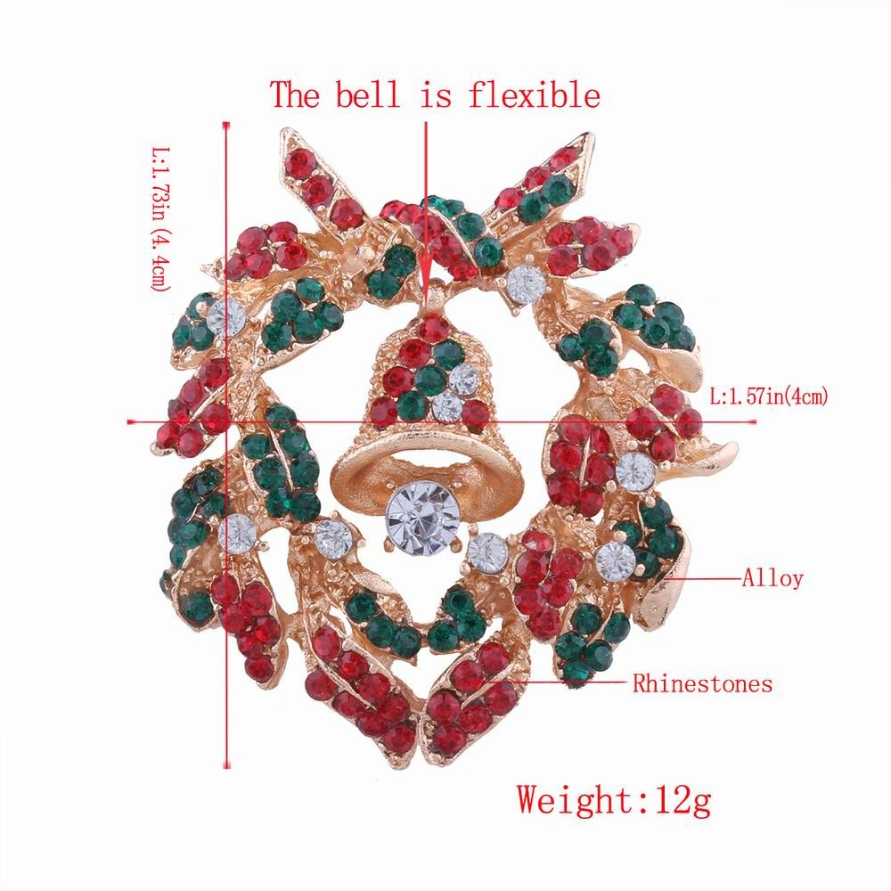 Fashion Design Christmas Bells Wreath Brooch with Diamond Charm Jewelry