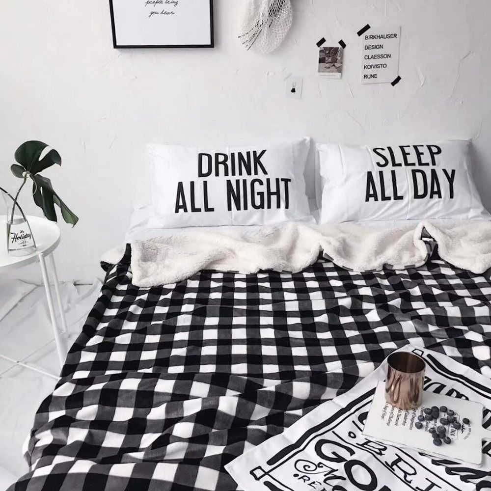 Double Layer Thickening Plush Plaid Blanket
