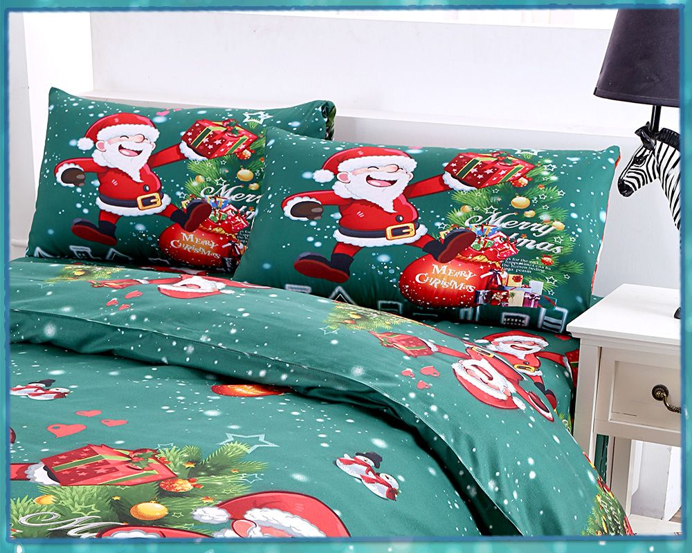 3D Printed Christmas Santa Bedding Set Polyester Duvet Cover Christmas Bedroom Decorations