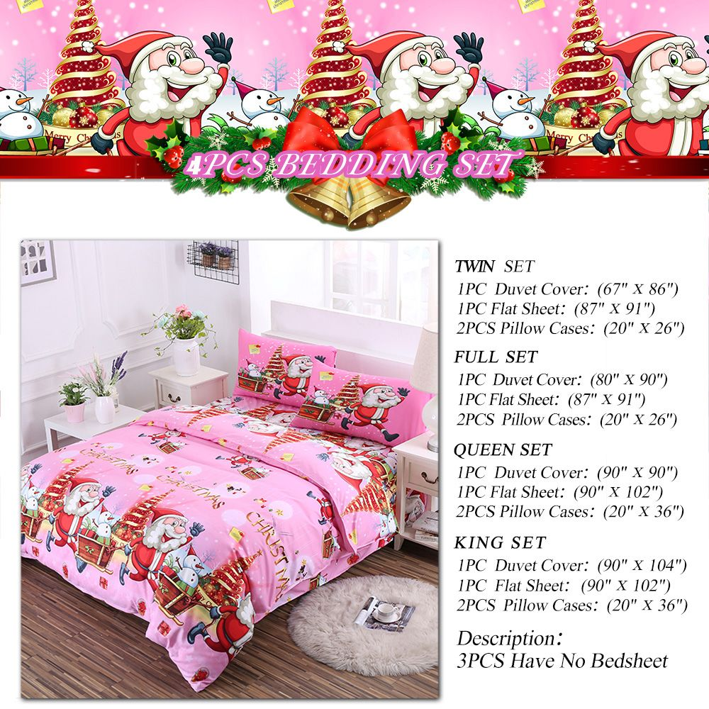 Christmas Bedding Set Polyester Santa 3D Printed Christmas Bedding Decorations