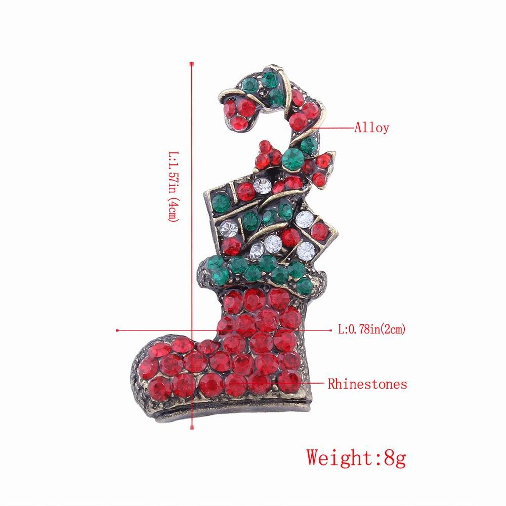 Fashion Design Multicolor Christmas Socks Brooch with Diamond Charm Jewelry