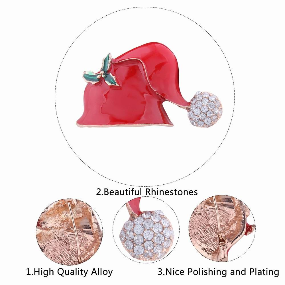 Fashion Design Christmas Hat Alloy Brooch with Diamond Charm Jewelry