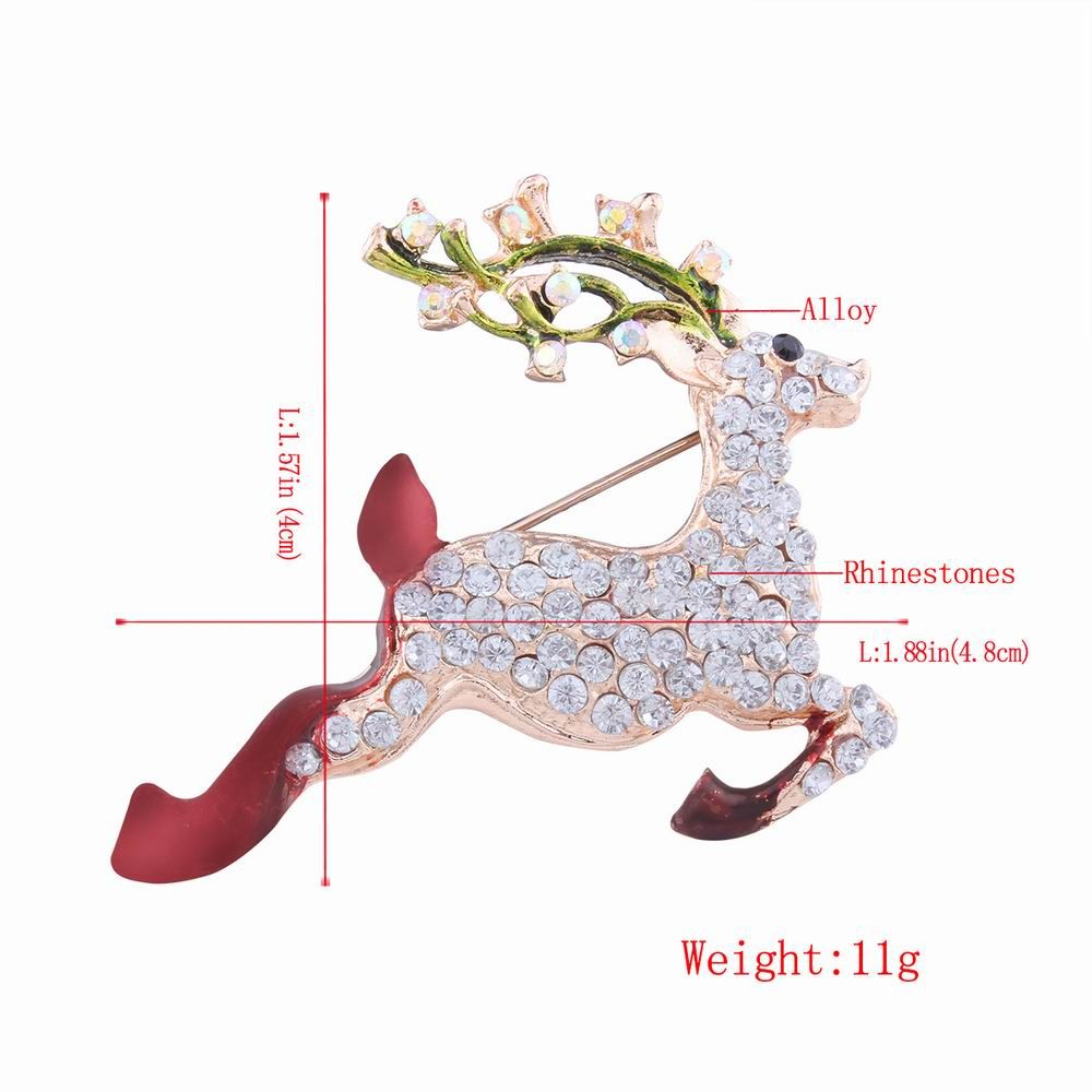 Fashion Design Christmas Lovely Fawn Alloy Brooch with Rhinestones Charm Jewelry