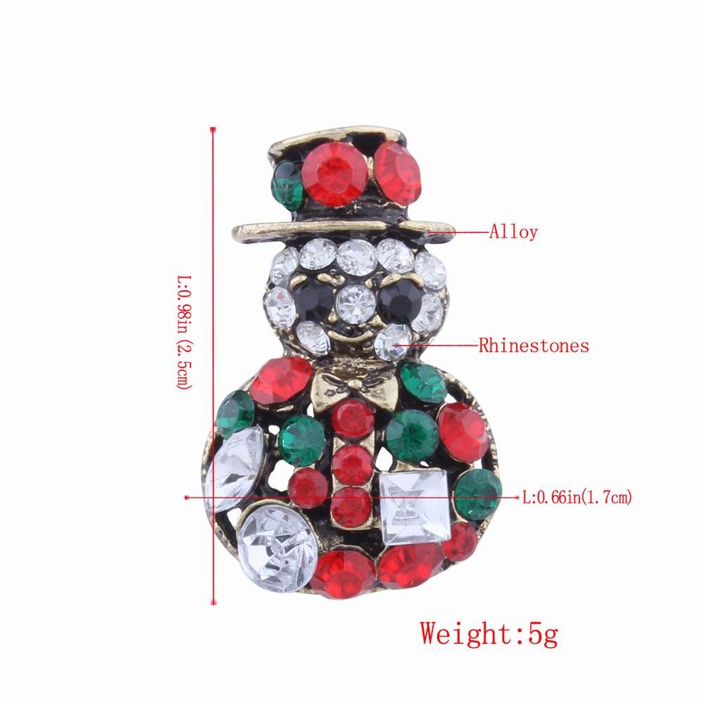 2 pcs Fashion Design Snowman and Christmas Flower Wreath Couples Brooch Set with Rhinestones