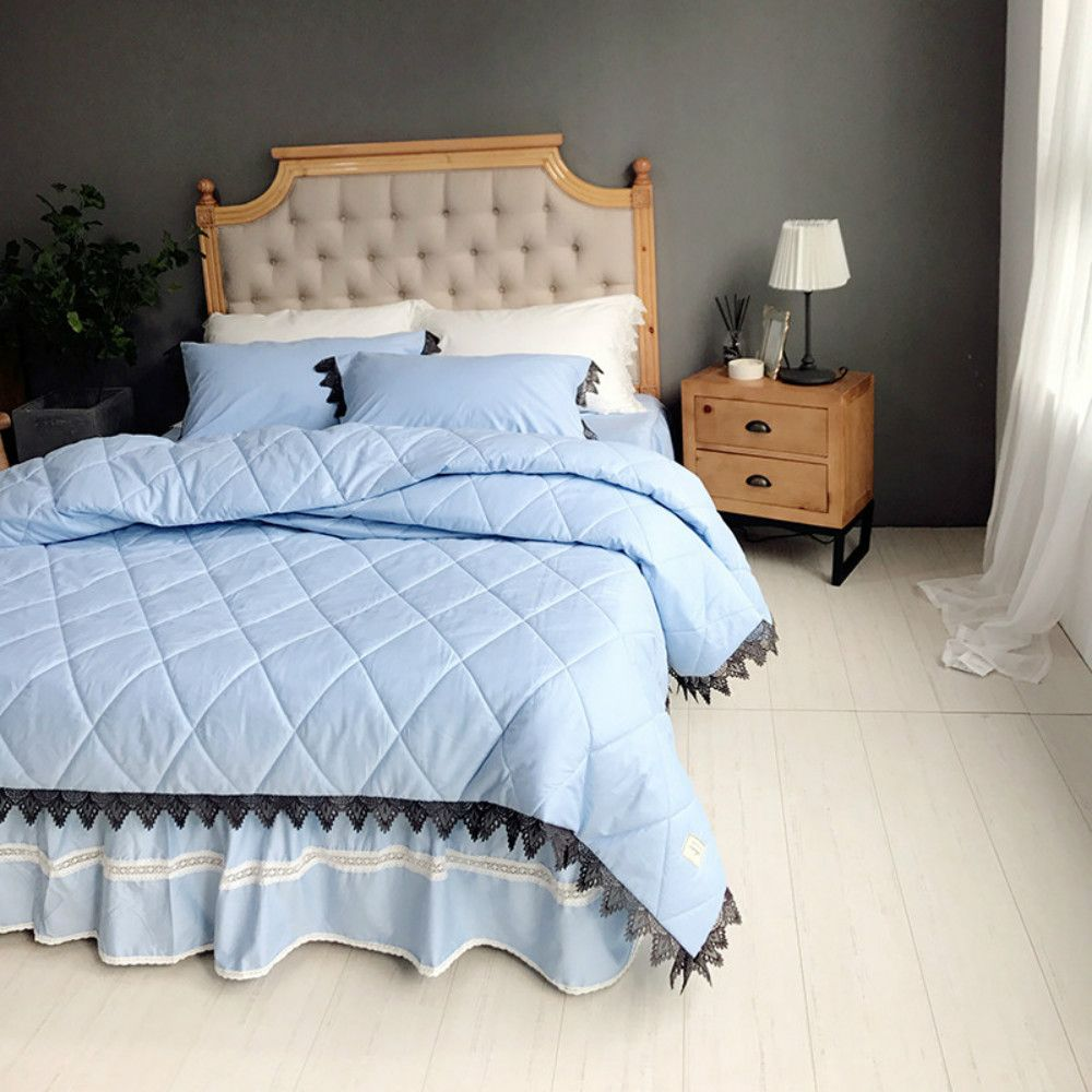 Blue Quilting Cover Bedding Set