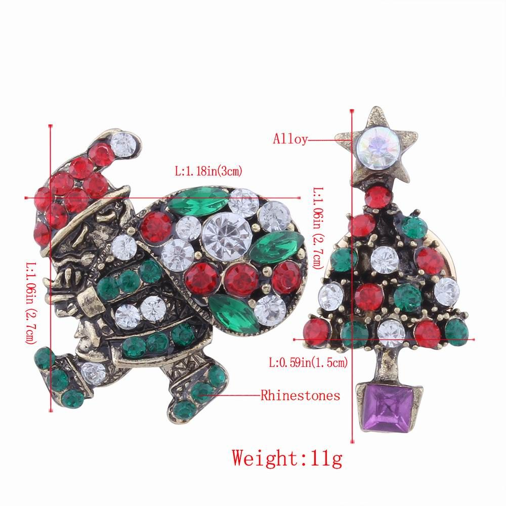 2pcs Fashion Design Santa Claus and Christmas Tree  Brooch with Rhinestones Charm Jewelry