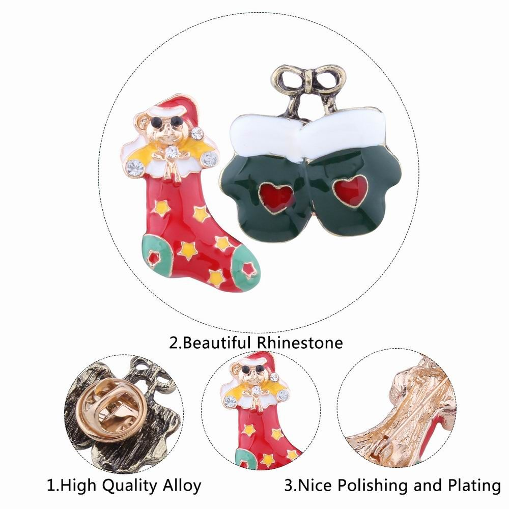 2pcs Fashion Design Christmas Socks Gloves Brooch with Rhinestones Charm Jewelry