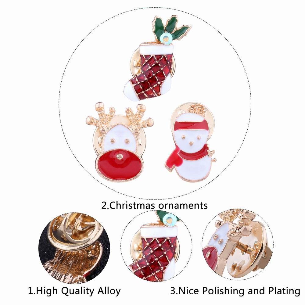 3pcs Fashion Design Christmas Snowman Sock Deer Brooch with Rhinestones Charm Jewelry