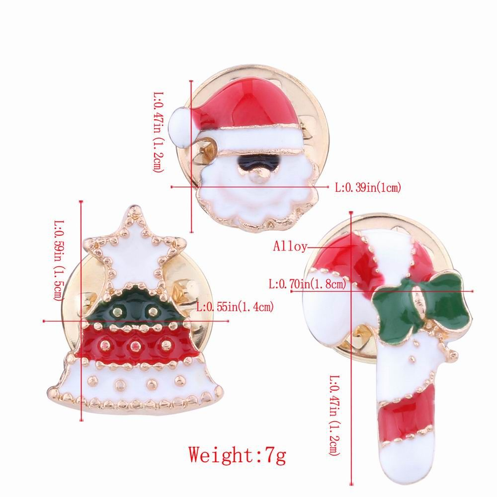 3pcs Fashion Design Christmas Element Santa Claus Walking Stick Bell Brooch