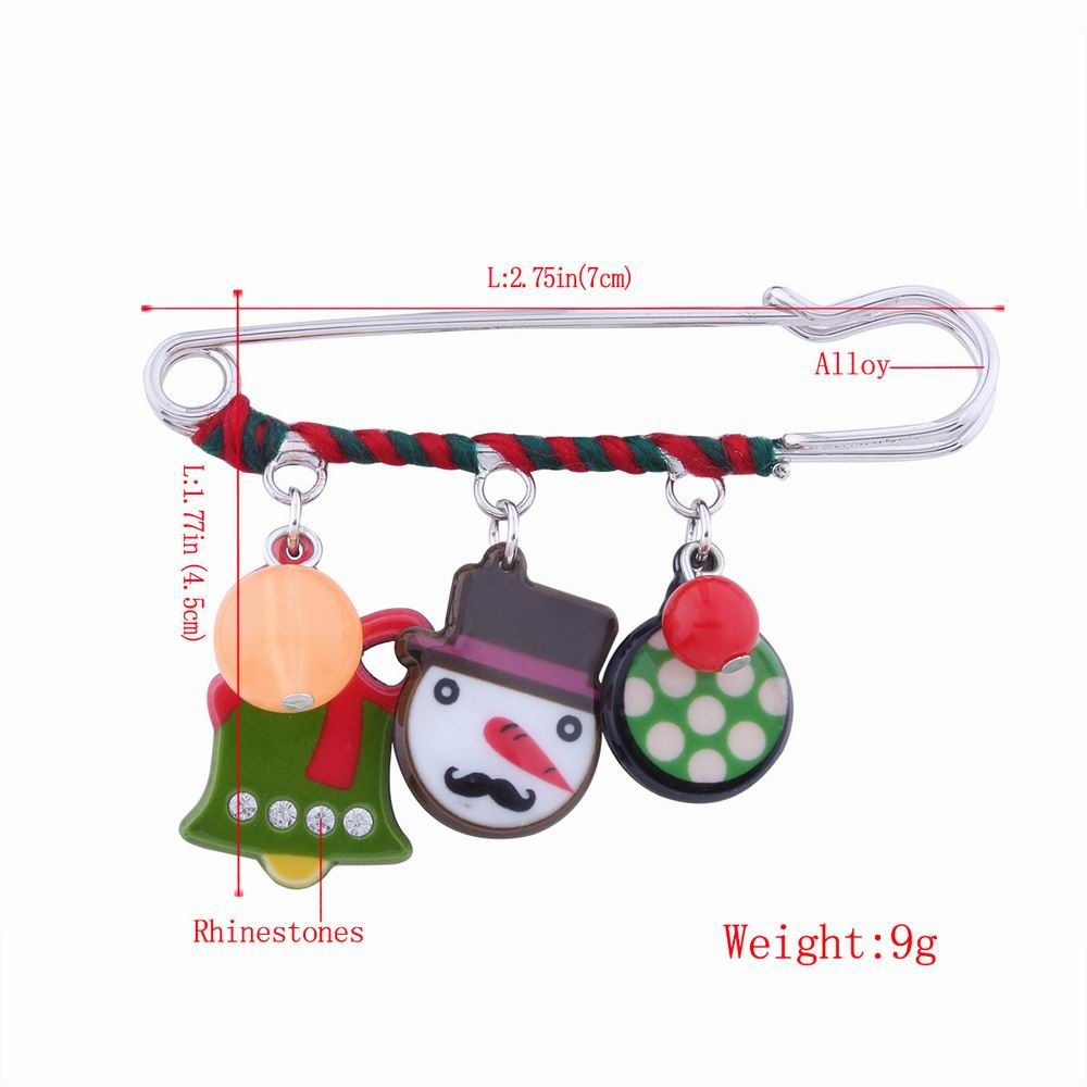 Fashion Design Christmas Snowman Bell Cartoon Funny Alloy Brooch Pin
