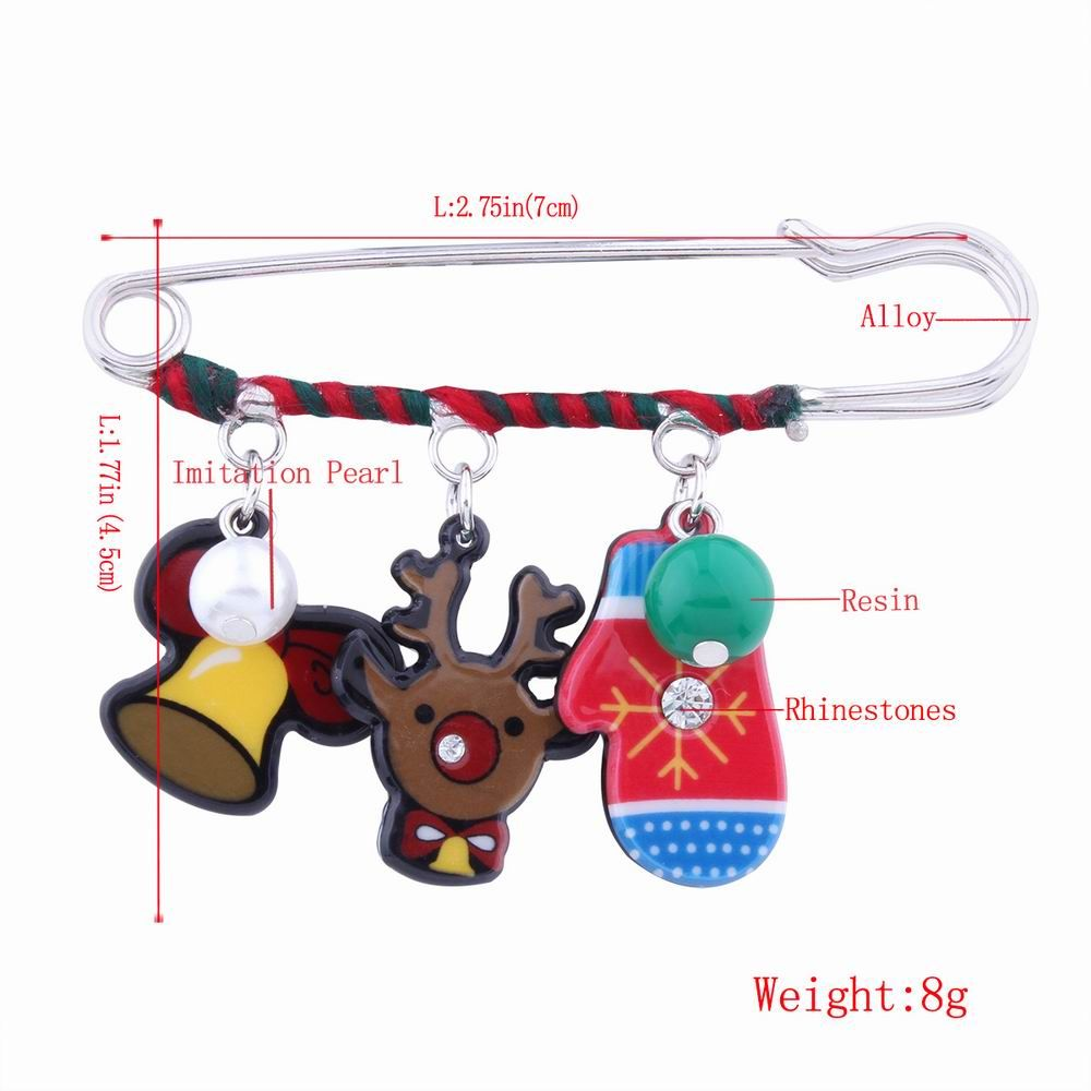 Fashion Design Christmas Lovely Deer Gloves Cartoon Funny Pin Brooch Charm Jewelry