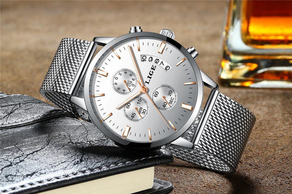 LIGE 9820 4862 Fashionable Women Steel Band Quartz Watch with Calendar