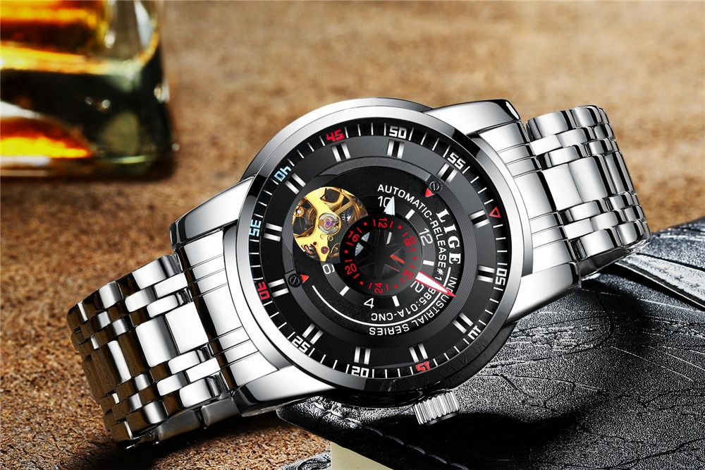 LIGE 9824 4838 Business Casual Men Automatic Mechanical Steel Band Watch