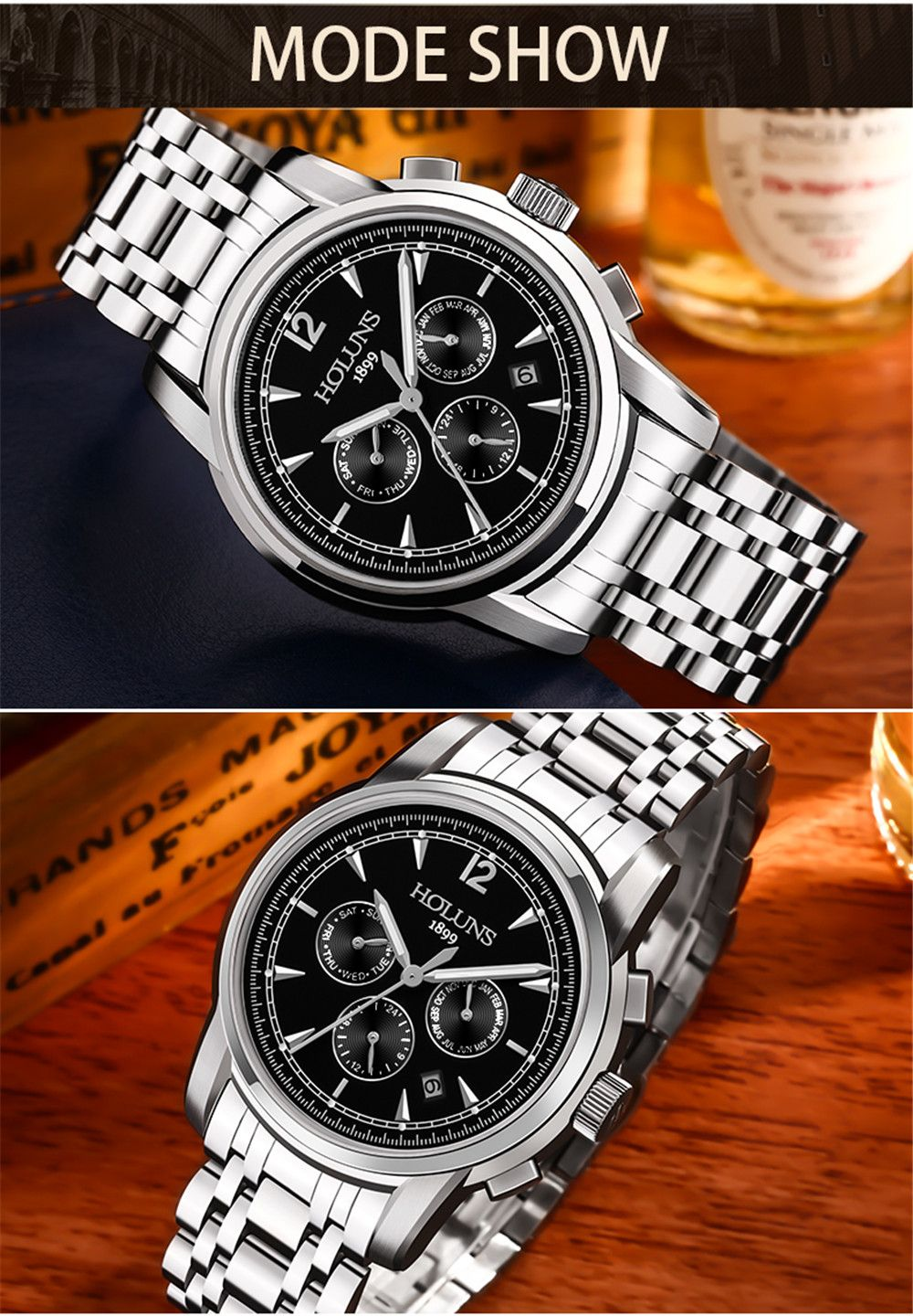HOLUNS 4872 Men Business Casual Steel Band Automatic Mechanical Watch