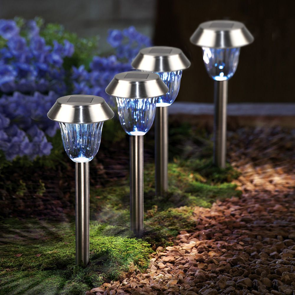 Stainless Steel 1 - LED Solar Lawn Light Pathway Garden Lamp 8PCS
