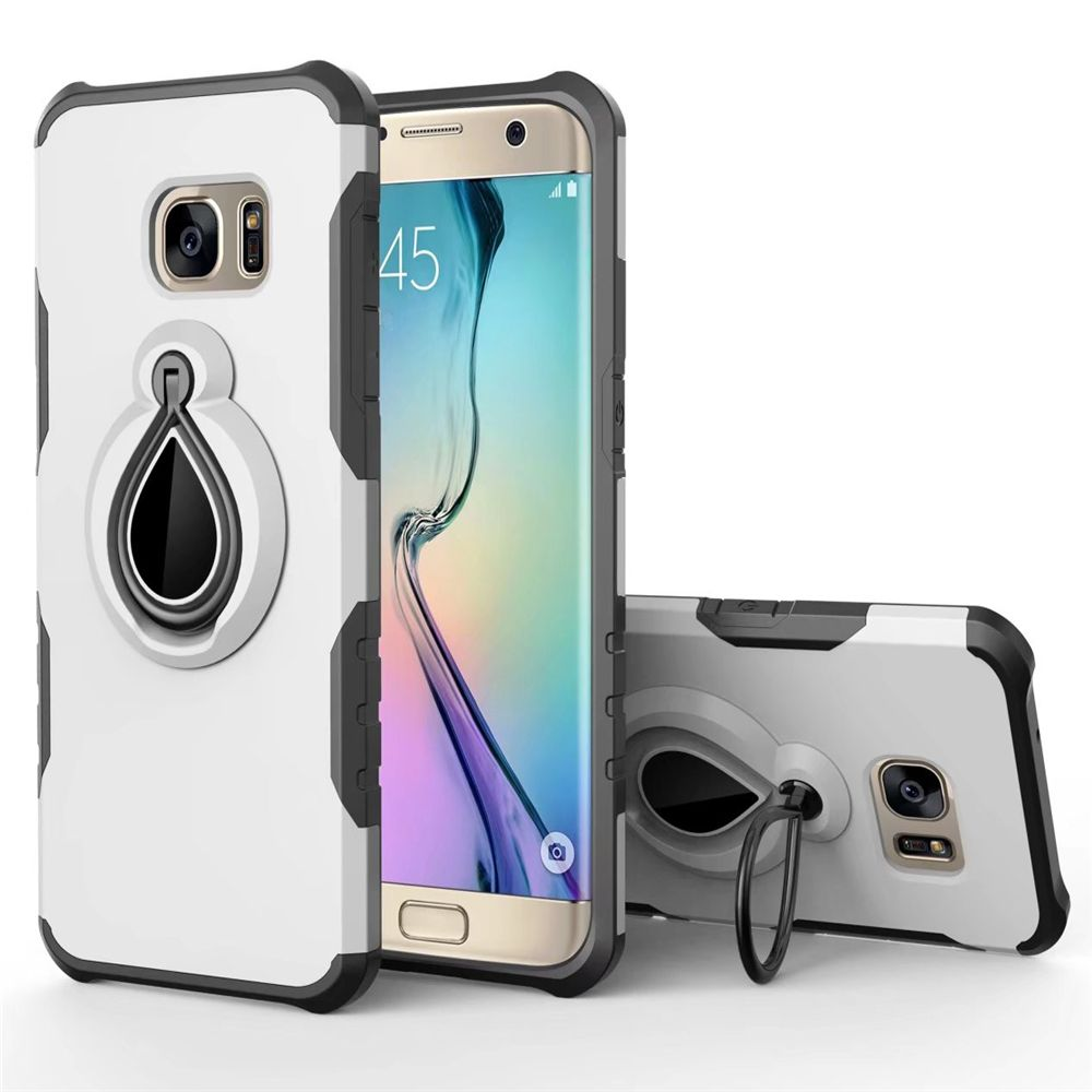 Raindrop Shape Hybrid Slim TPU Bumper Protective with 360 Degree Rotating Metal Ring Holder Kickstand Case for Samsung Galaxy S7 Edge