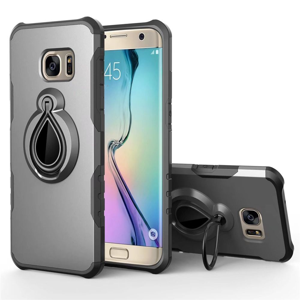 Raindrop Shape Hybrid Slim TPU Bumper Protective with 360 Degree Rotating Metal Ring Holder Kickstand Case for Samsung Galaxy S7